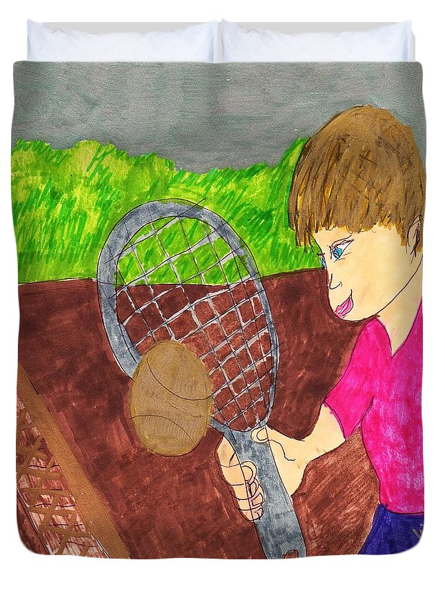 Boy Playing Tennis For The First Time Duvet Cover featuring the mixed media First Time For Tennis by Elinor Helen Rakowski