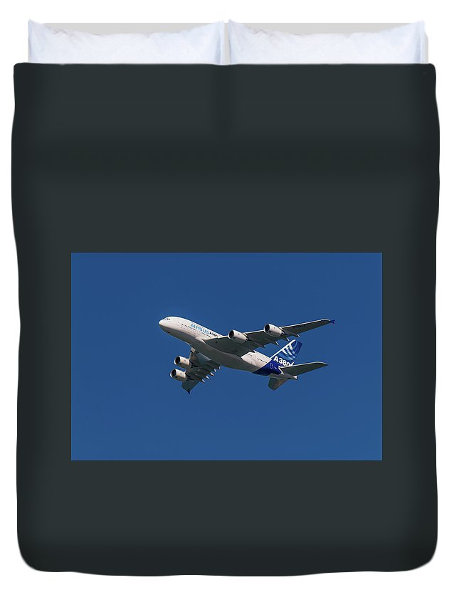 Airbus Duvet Cover featuring the pyrography Firts Airbus A380 by Javier Flores