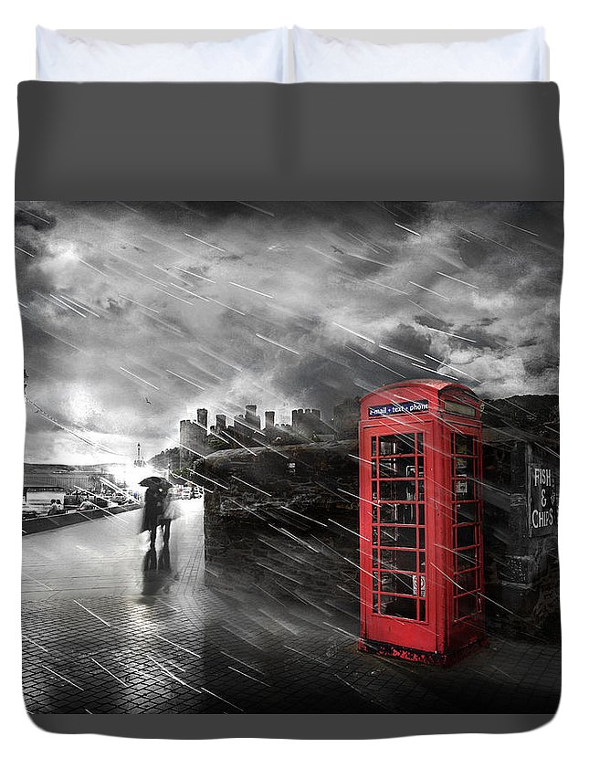 Telephone Duvet Cover featuring the photograph Fish And Chips by Mal Bray