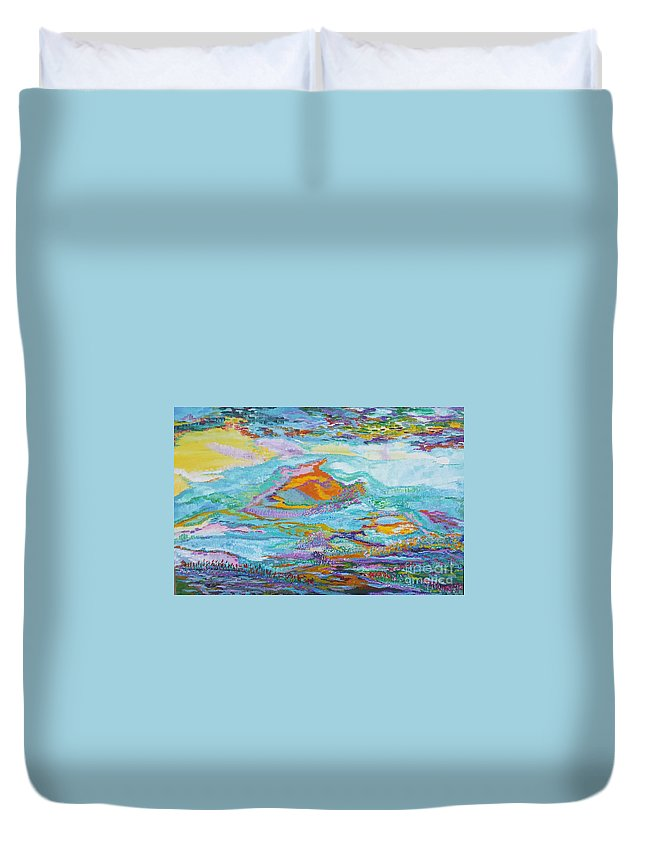Fish In The Sea Duvet Cover featuring the painting Fish by Anneke Hietbrink