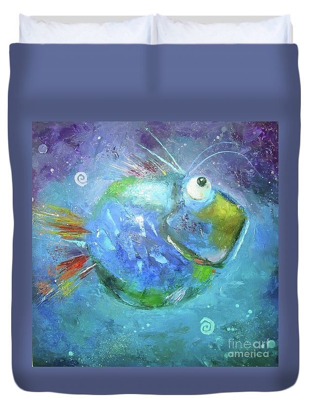 Fish Duvet Cover featuring the painting Fish Blue by Aksana Vaitsakhovich