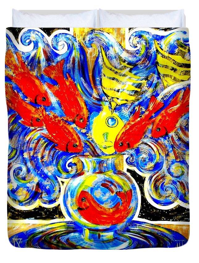 Inga Vereshchagina Duvet Cover featuring the painting Fish Bouquet by Inga Vereshchagina