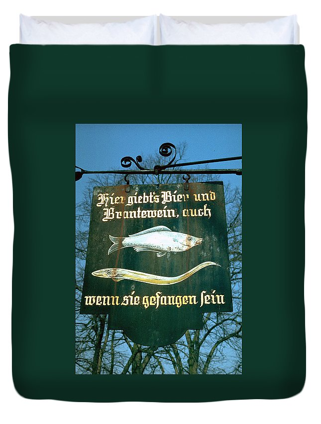 Store Sign Duvet Cover featuring the photograph Fish by Flavia Westerwelle