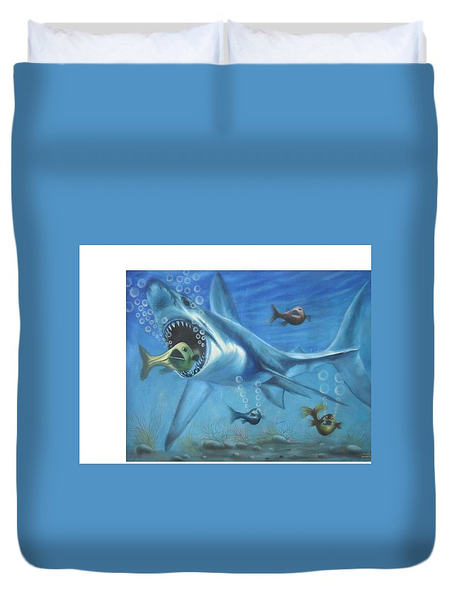 Fish Duvet Cover featuring the painting Fish In Action by Olaoluwa Smith