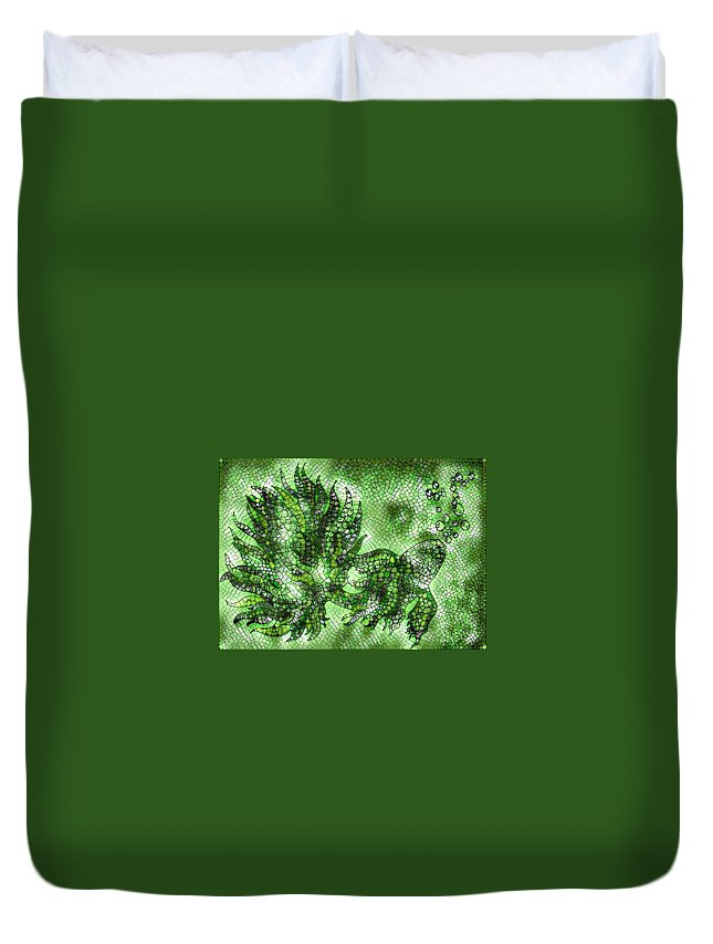 Fish Duvet Cover featuring the digital art Fish In Green Mosaic 2 by Megan Walsh