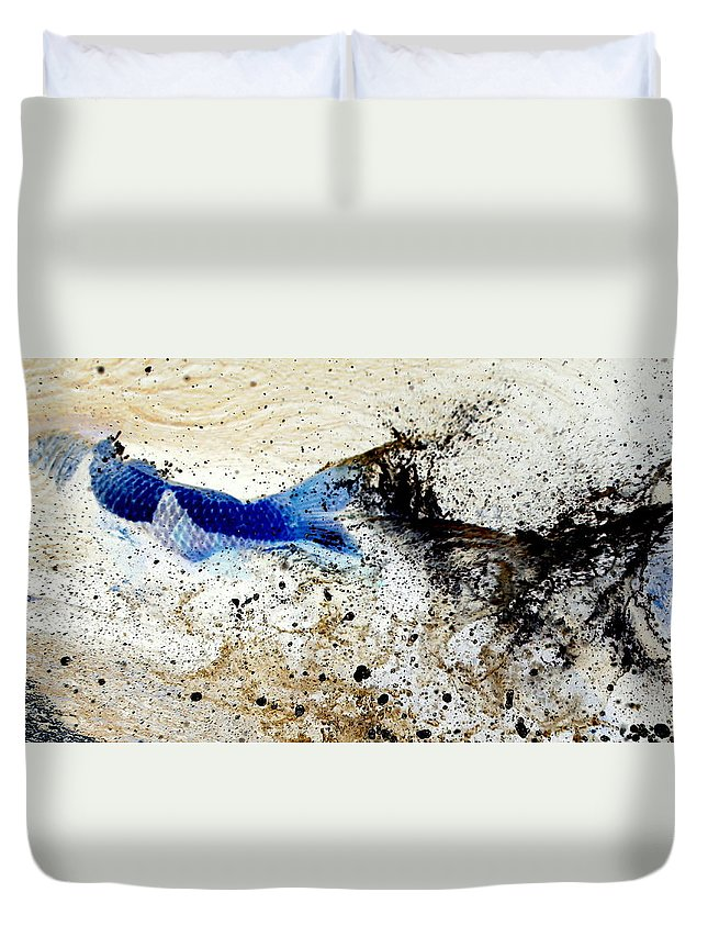 Fish Duvet Cover featuring the photograph Fish In Rapids by Ron Romanosky