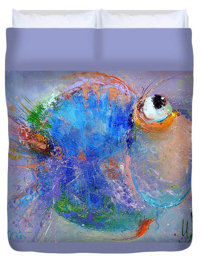 Russian Artists New Wave Duvet Cover featuring the painting Fish-ka 2 by Igor Medvedev