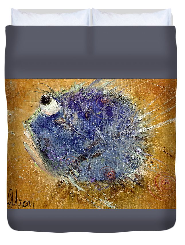 Russian Artists New Wave Duvet Cover featuring the painting Fish-ka 4 by Igor Medvedev