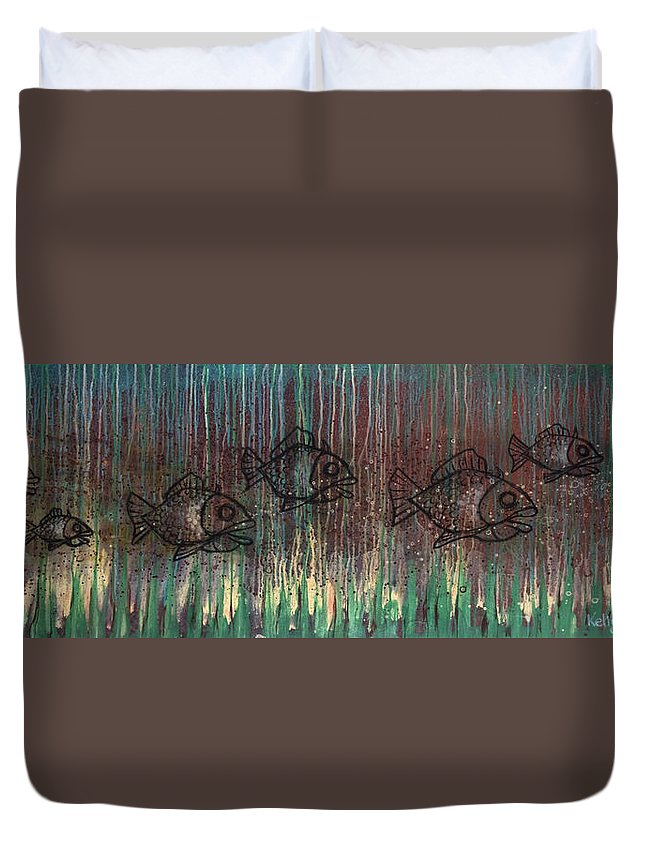 Fish Duvet Cover featuring the painting Fish by Kelly Jade King