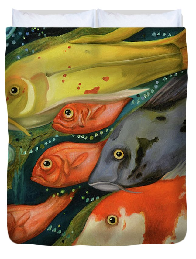 Fish Duvet Cover featuring the painting Fish by Leah Saulnier The Painting Maniac