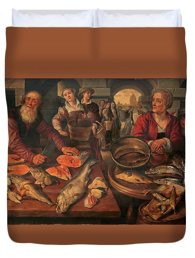 Joachim Beuckelaer Duvet Cover featuring the painting Fish Market by Joachim Beuckelaer