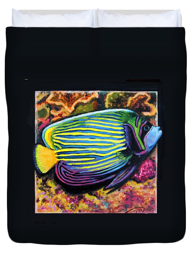 Ocean Fish Duvet Cover featuring the painting Fish number 2 by John Lautermilch