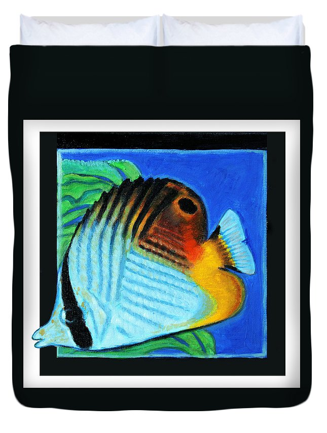 Bright Colors Duvet Cover featuring the painting Fish Number Four by John Lautermilch