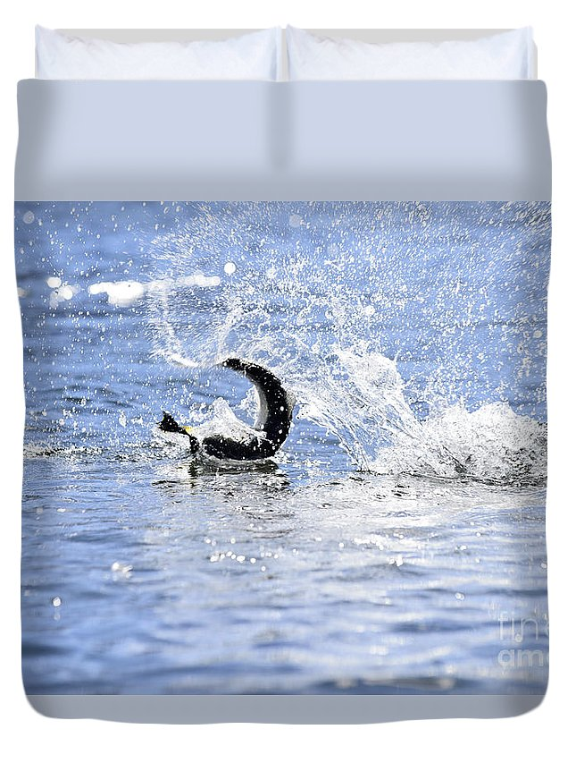 Rainbow Duvet Cover featuring the photograph Fish On by Chip Laughton