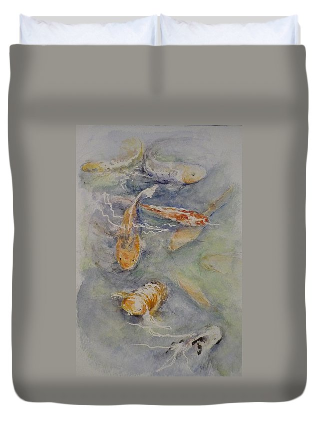 Fish Duvet Cover featuring the painting Fish Pond by Lizzy Forrester