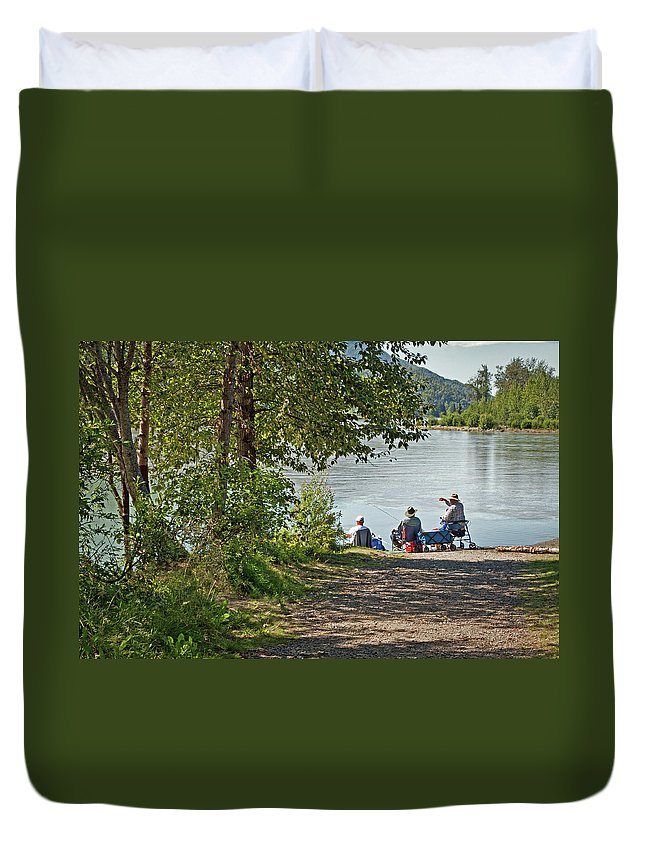 Eklutna Tailrace Duvet Cover featuring the photograph Fish Tale by Cathy Mahnke