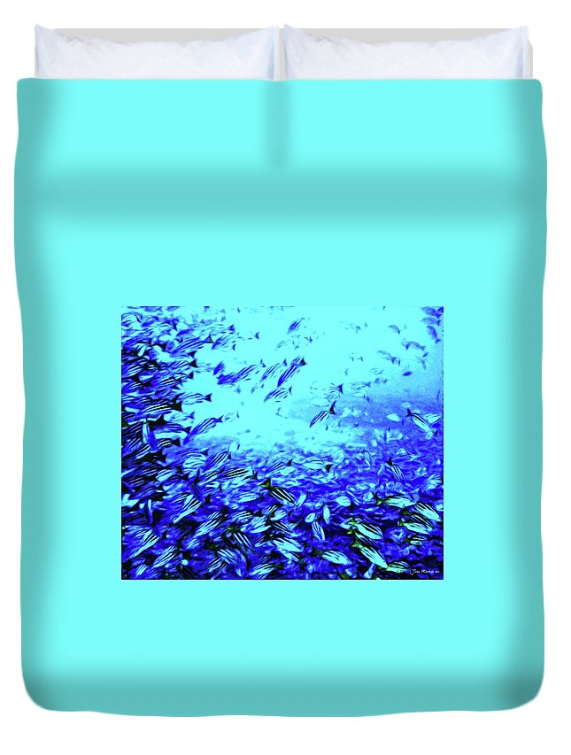 Coral Duvet Cover featuring the digital art Fish Traffic by Joan Minchak