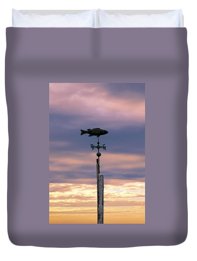Fish Duvet Cover featuring the photograph Fish Weather Vane At Sunset by Charles Harden