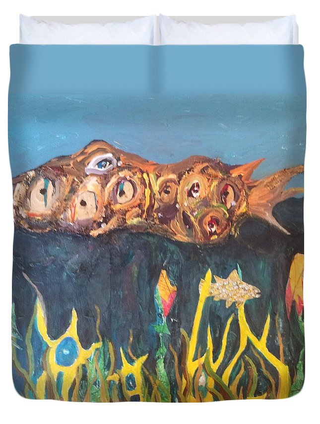 Bubbly Creek Chicago Duvet Cover featuring the painting Fish by William Douglas