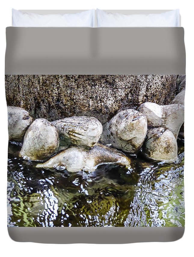 Mermaid Duvet Cover featuring the photograph Fish Wives Fountain Detail by Pamela Newcomb