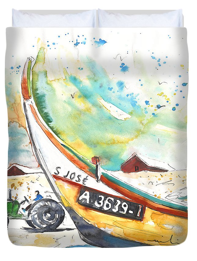 Portugal Duvet Cover featuring the painting Fisherboat In Praia De Mira by Miki De Goodaboom