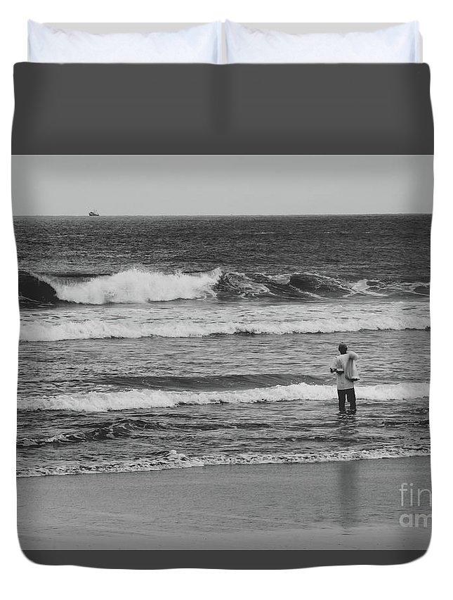 Costa Del Sol Duvet Cover featuring the photograph Fisherman - Costa Del Sol - El Salvador Bnw V by Totto Ponce
