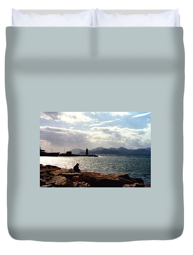 Fisherman Duvet Cover featuring the photograph Fisherman In Nice France by Nancy Mueller