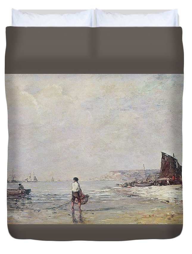 Boudin Duvet Cover featuring the painting Fisherman In Villerville by Eugene Louis Boudin