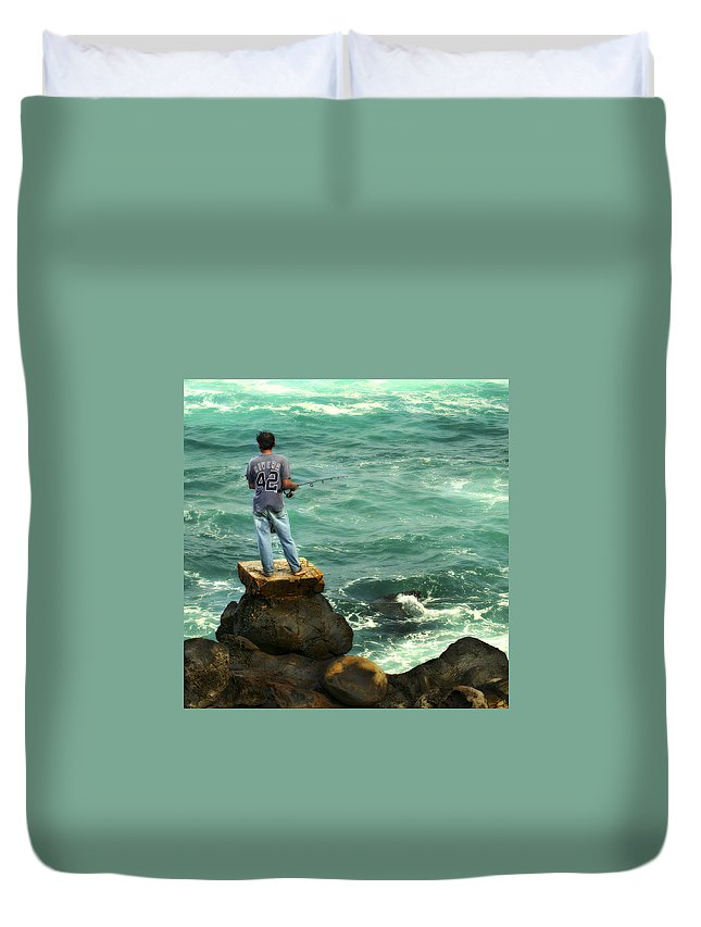 Americana Duvet Cover featuring the photograph Fisherman by Marilyn Hunt