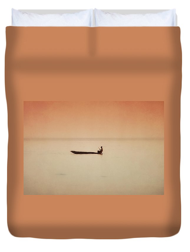 Africa Duvet Cover featuring the photograph Fisherman On Lake Kariba by Johanneke Kroesbergen-Kamps