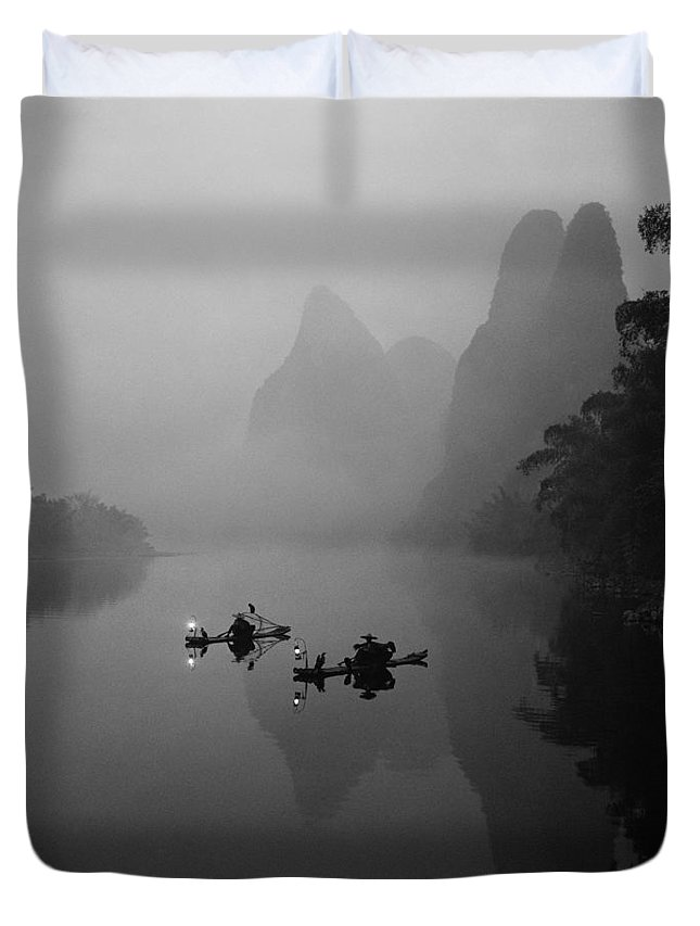 Chinese Duvet Cover featuring the photograph Fisherman On Rafts by Howie Garber