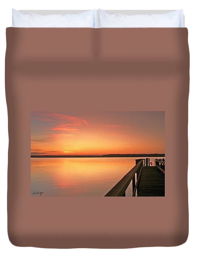 Sunset Duvet Cover featuring the photograph Fisherman by Phill Doherty