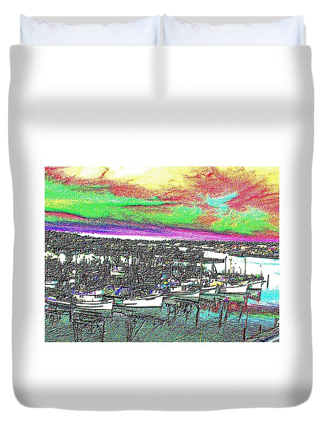 Seattle Duvet Cover featuring the photograph Fishermans Terminal 2 by Tim Allen