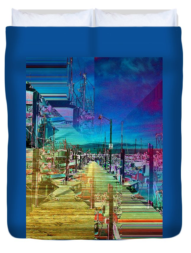 Seattle Duvet Cover featuring the digital art Fishermans Terminal Pier 2 by Tim Allen
