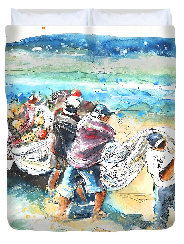 Portugal Duvet Cover featuring the painting Fishermen In Praia De Mira by Miki De Goodaboom