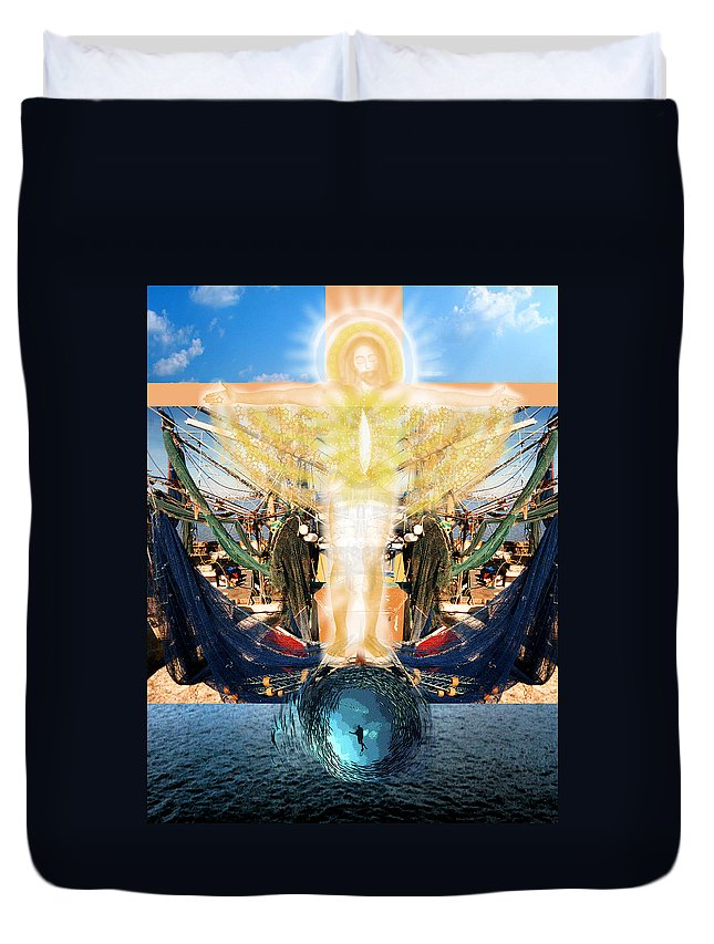 Love Duvet Cover featuring the painting Fishers Of Men by Anne Cameron Cutri
