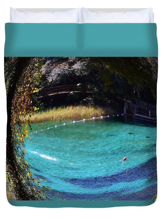 Fisheye Palm And Springs Duvet Cover featuring the photograph Fisheye Palm And Springs by Warren Thompson