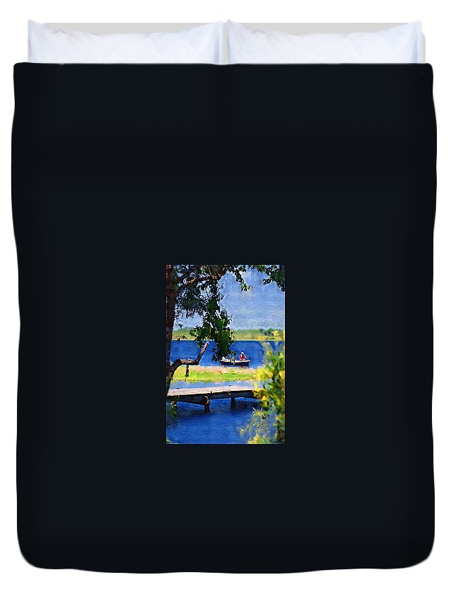 Ponds Duvet Cover featuring the photograph Fishin by Donna Bentley