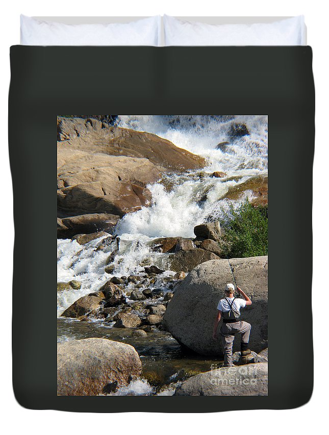 Fishing Duvet Cover featuring the photograph Fishing Anyone by Amanda Barcon