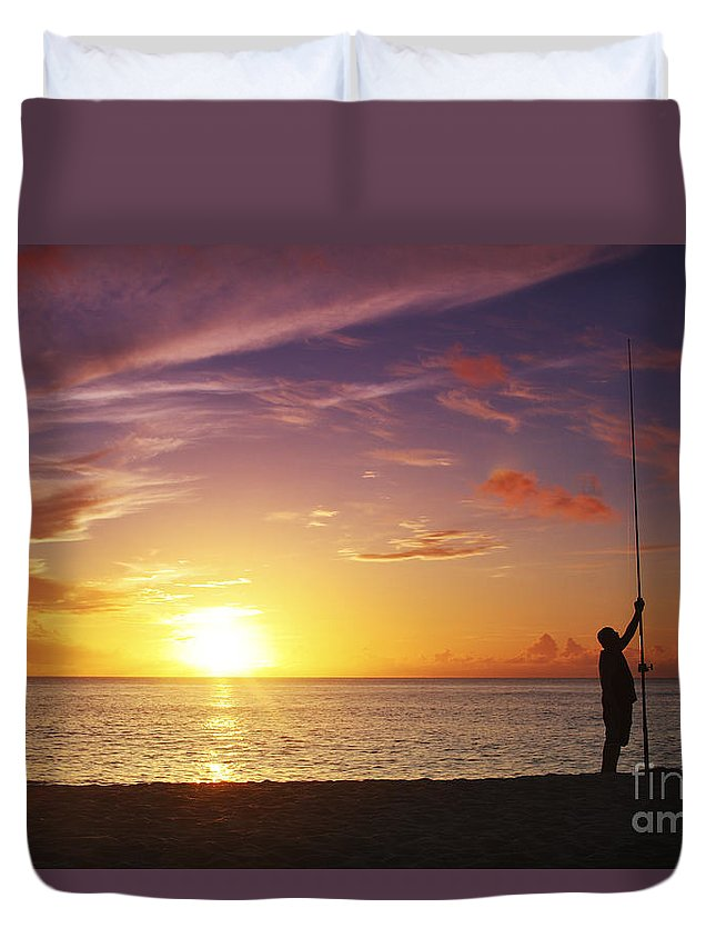 Beach Duvet Cover featuring the photograph Fishing At Sunset by Vince Cavataio - Printscapes