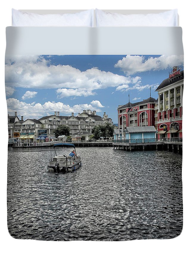 Fishing Duvet Cover featuring the photograph Fishing At The Boardwalk Before The Storm by Thomas Woolworth