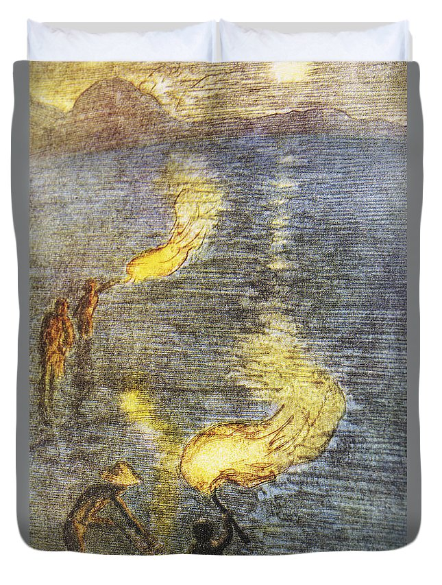 1937 Duvet Cover featuring the painting Fishing At Twilight by Hawaiian Legacy Archive - Printscapes