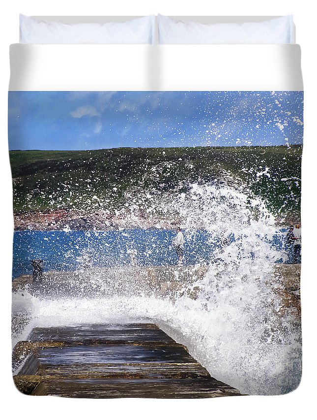 Sennen Cove Duvet Cover featuring the photograph Fishing Beyond The Surf by Terri Waters