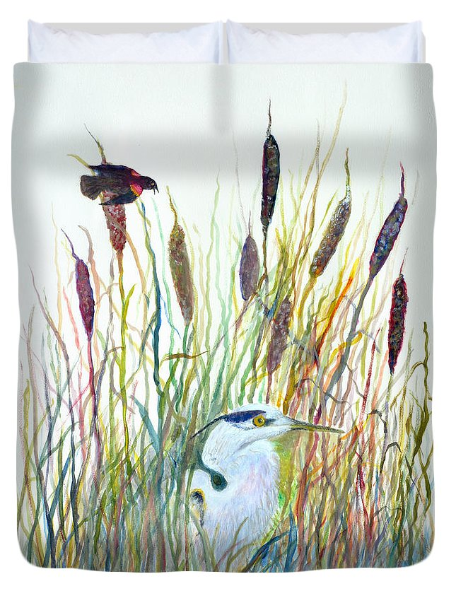 Fishing Duvet Cover featuring the painting Fishing Blue Heron by Ben Kiger