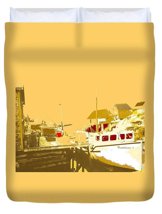 Red Duvet Cover featuring the photograph Fishing Boat At The Dock by Ian MacDonald