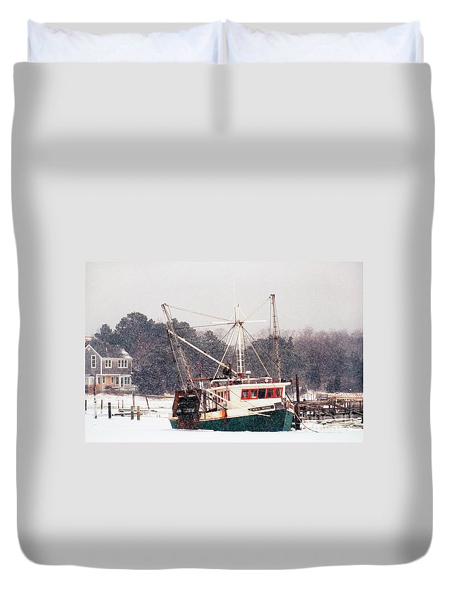 Fishing Boat Duvet Cover featuring the photograph Fishing Boat Emma Rose In Winter Cape Cod by Matt Suess