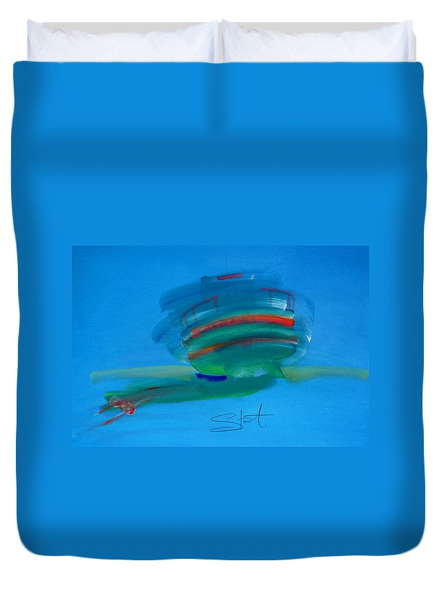 Fishing Boat Duvet Cover featuring the painting Fishing Boat Hastings by Charles Stuart