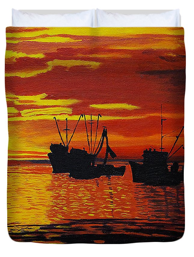 Sunsets Duvet Cover featuring the photograph Fishing Boats At Sunset by Rich Walter