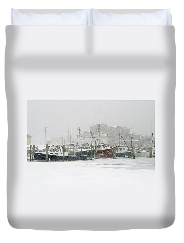 Winter Duvet Cover featuring the photograph Fishing Boats During Winter Storm Sandwich Cape Cod by Matt Suess