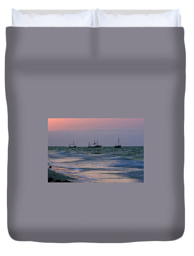 Fishing Boats Duvet Cover featuring the photograph Fishing Boats by Michael Mogensen